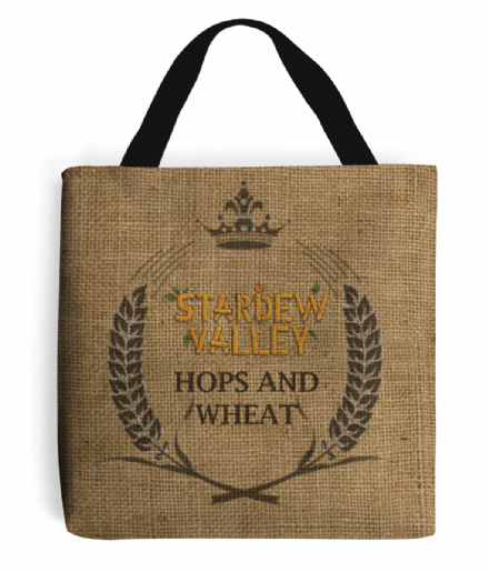 Hops and Wheat Printed Burlap Design Tote Bag Inspired By Stardew Valley
